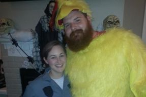 Spencer relives the chicken suit