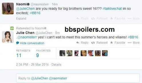 Big Brother 2014 Spoilers - Julie Chen Gves BB16 Spoiler