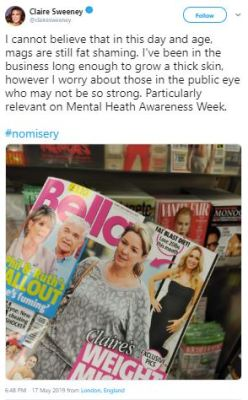 Claire Sweeney on cover of Bella magazine - titled 'Claire's Weight Misery' - boycott trash mags