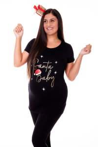 Maternity Black Santa Baby Slogan T-Shirt