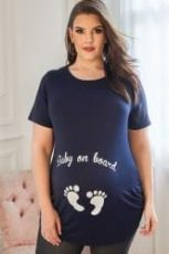 Navy T-shirt with white glitter slogan and footprints