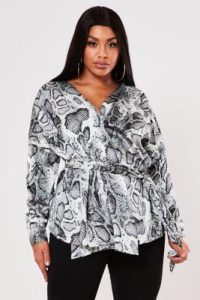 grey snake print tie wrap blouse