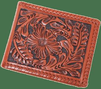 Brown Western Tooled Leather Bi-Fold Wallet