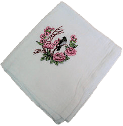 Black Bird Perched on Pink Poppies Flour Sack Dish Towel