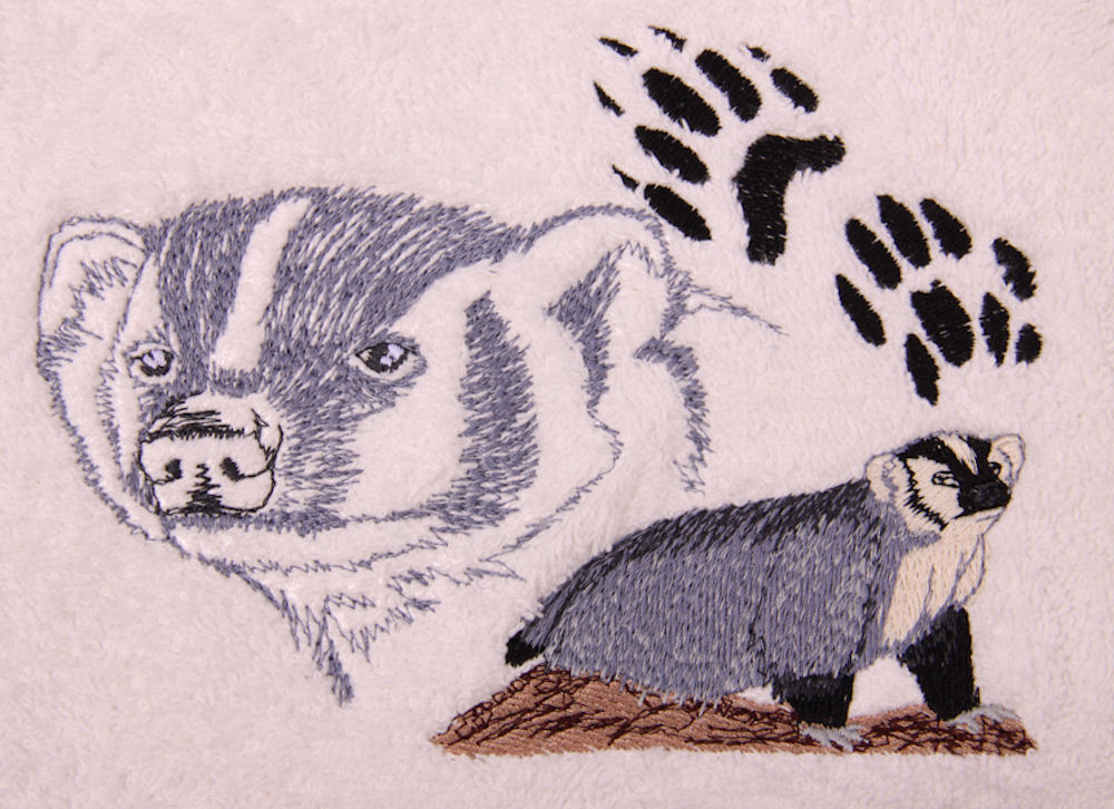 Badger Embroidered Bath Towels