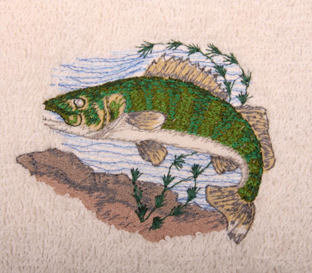 Walleye Fish Embroidered Bath Towels