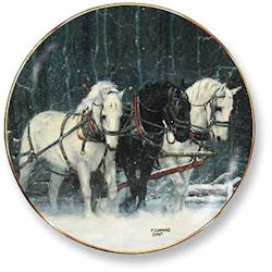Snowfall Horses Decorative Plate