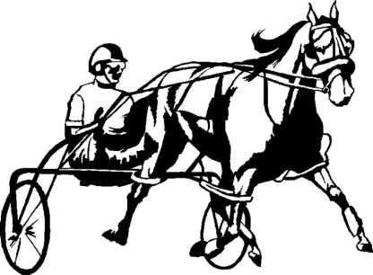 Black harness horse decal