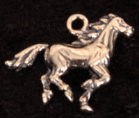 Sterling silver galloping horse charm