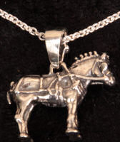 Clydesdale draft horse in harness pendent