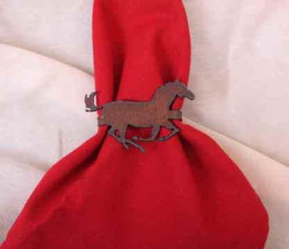 Metal horse napkin ring