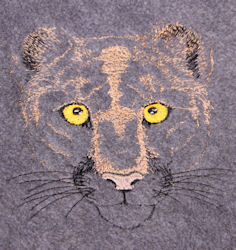Mountain Lion Embroidered Fleece Throw