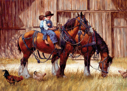 Back to the Barn 1000 Piece Jigsaw Puzzle - Clydesdale Horses