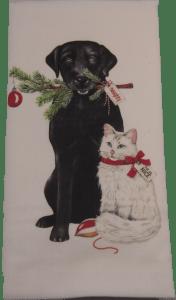 Black Lab & white cat towel