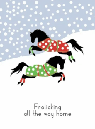 Frolicking all the Way Home Horse Holiday Greeting Boxed Christmas Cards
