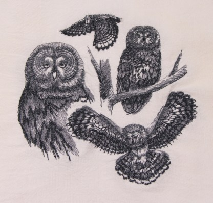 Owl Sketch Flour sack towel