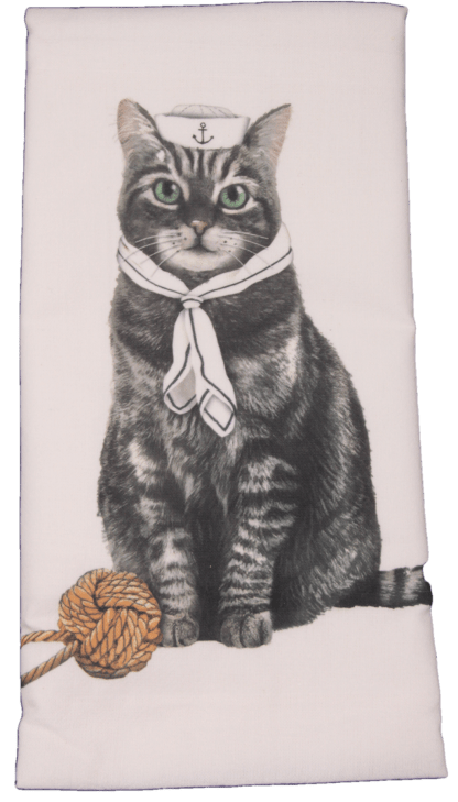 Sailor Gray Tabby Cat Printed Flour Sack Dish Towel
