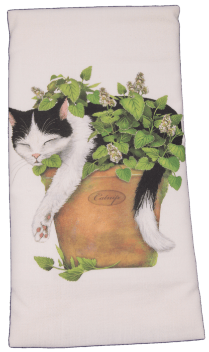 Black and White Cat with Catnip Printed Flour Sack Dish Towel
