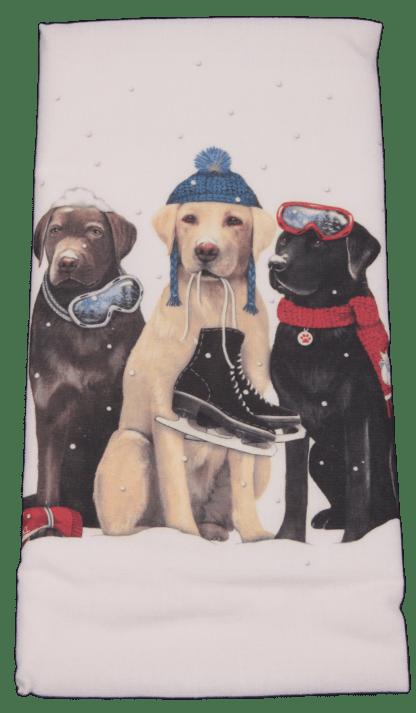 Three Dog Friends Lab Printed Flour Sack Dish Towel