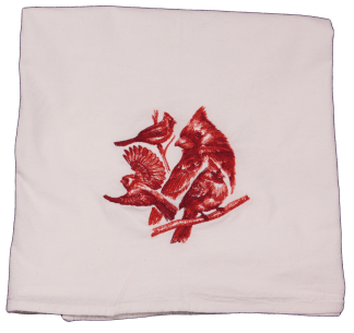 Embroidered Cardinals White Flour Sack Dish Towel