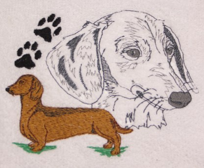 Dachshund Dog with Paw Print Embroidered Bath Towels