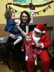 Carina O'Hara with her children and Santa