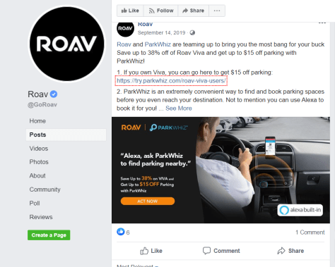 Roav last post Facebook