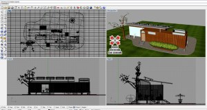 3D Modeling Program (Rhino) Screen Capture of Container Home Design