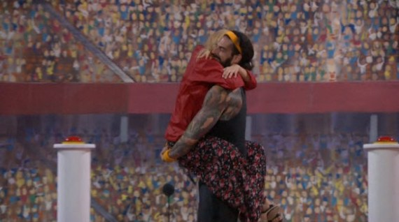 Liz and Austin celebrate his win (CBS)