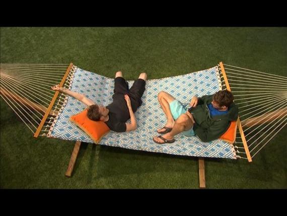 John and Steve enjoy the hammock.