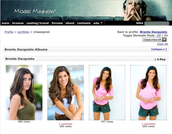 Bronte D'Acquisto profile at ModelMayhem.com