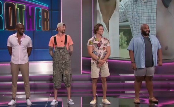 First four Big Brother houseguests standing on a stage with Julie Chen Moonves
