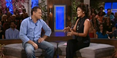 Joe Arvin with Julie Chen on Big Brother 14