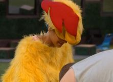GinaMarie tries on the chicken suit 01