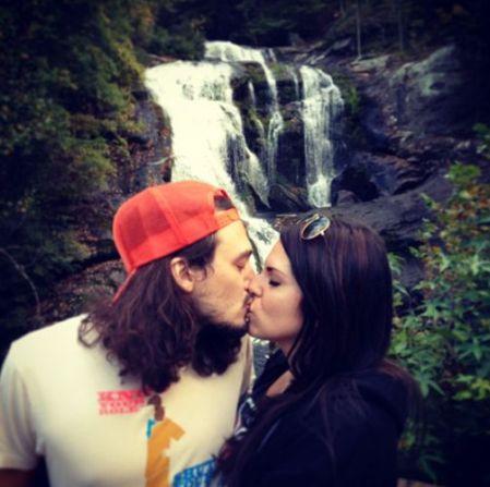 McCranda kiss at the waterfall