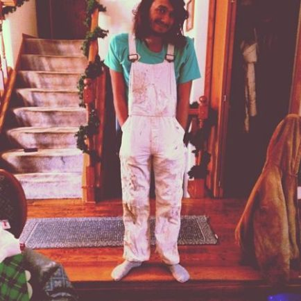 McCrae tries out his overalls