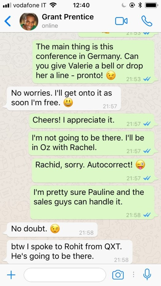 WhatsApp conversation between colleagues (recent email