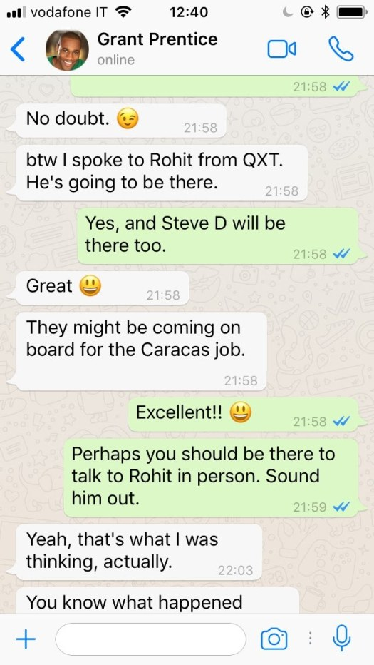 WhatsApp conversation between colleagues (recent email
