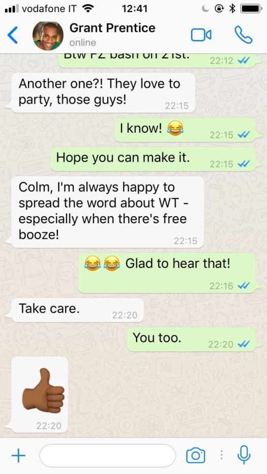WhatsApp conversation between colleagues (recent email) – Big
