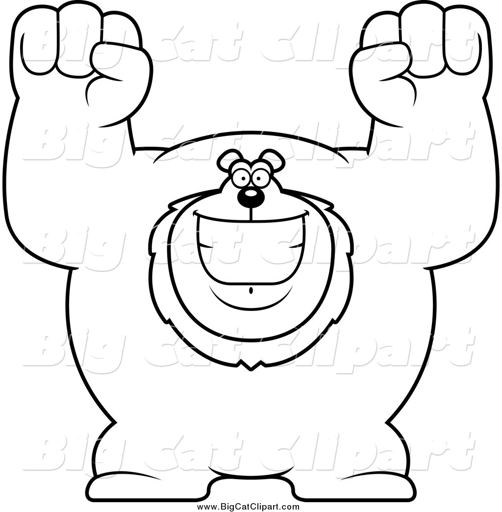 Big Cat Cartoon Vector Clipart Of A Black And White