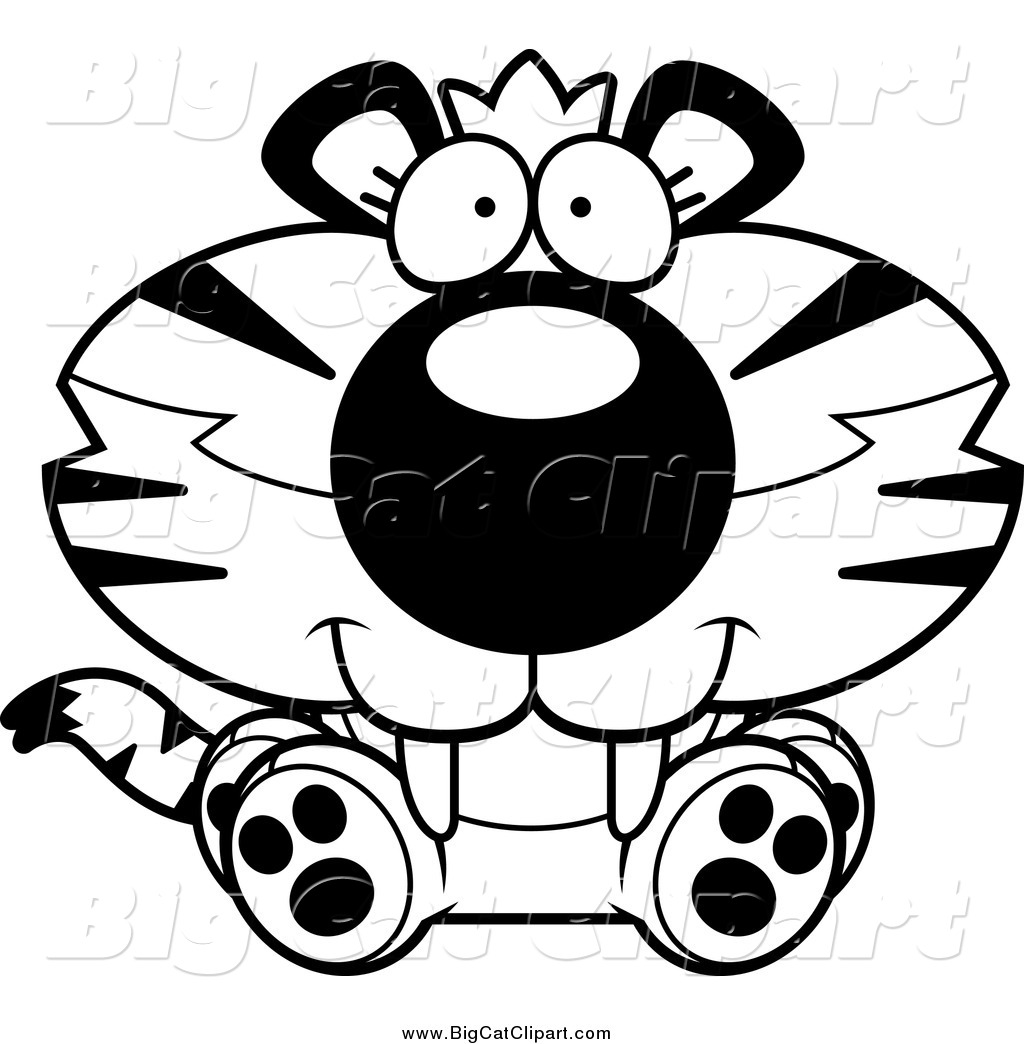 Big Cat Cartoon Vector Clipart Of A Black And White Happy