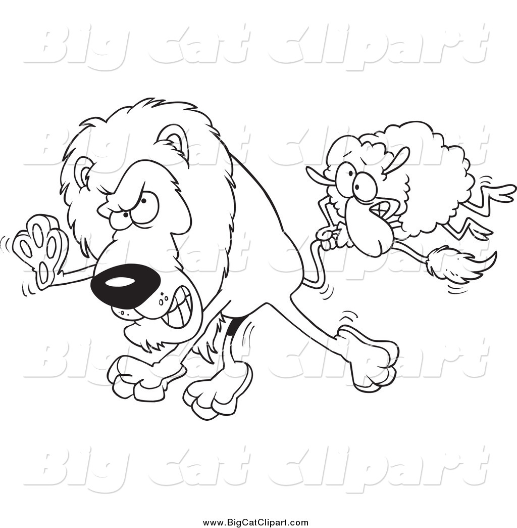 Big Cat Cartoon Vector Clipart Of A Black And White Sheep