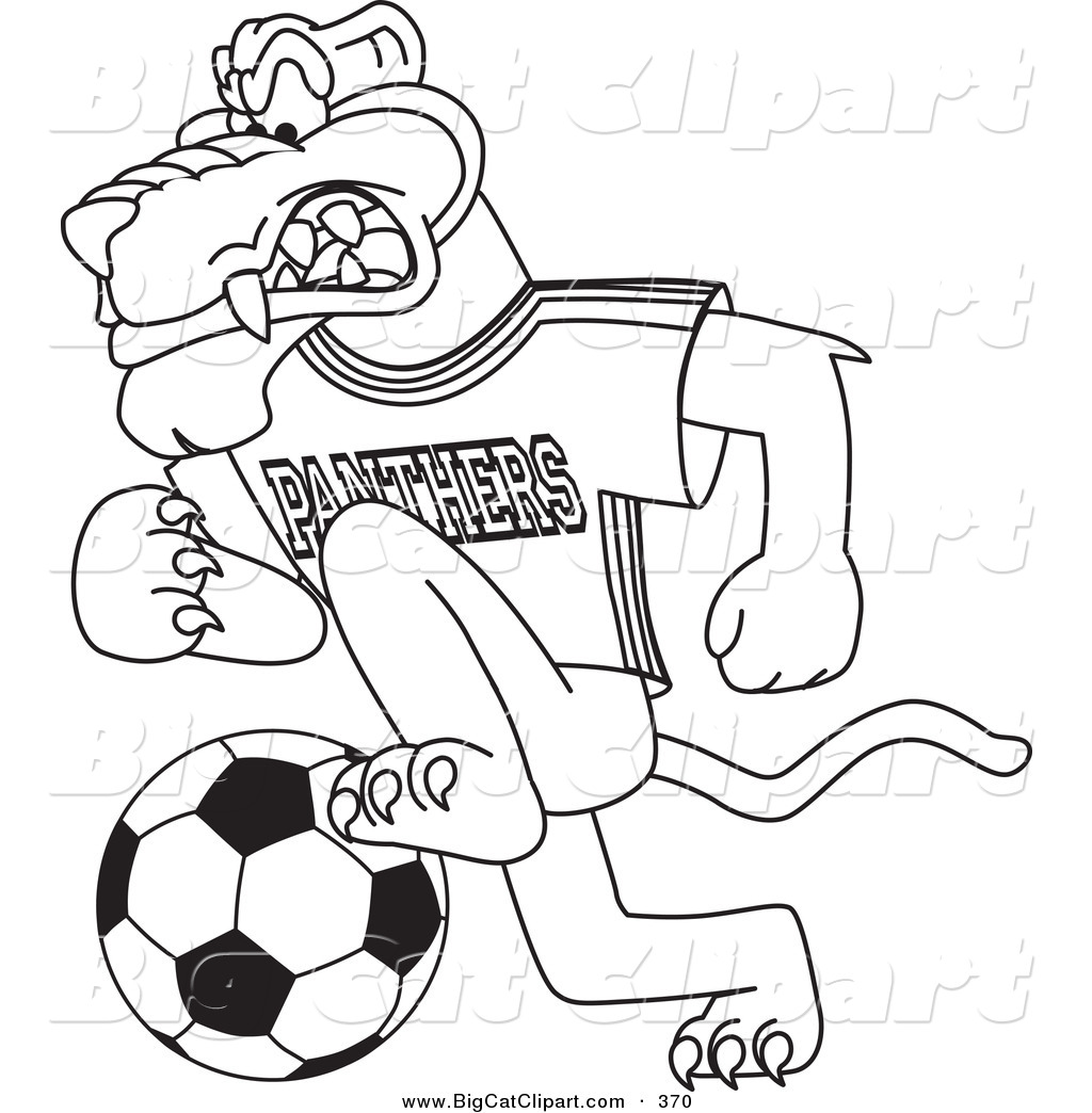 Big Cat Cartoon Vector Clipart Of A Coloring Page Outline Of A Panther Character Mascot Playing