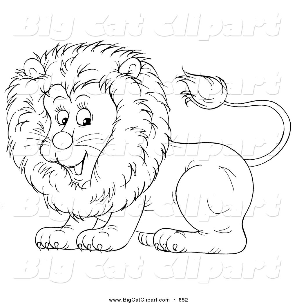 Big Cat Cartoon Vector Clipart Of A Lineart Cute Lion By