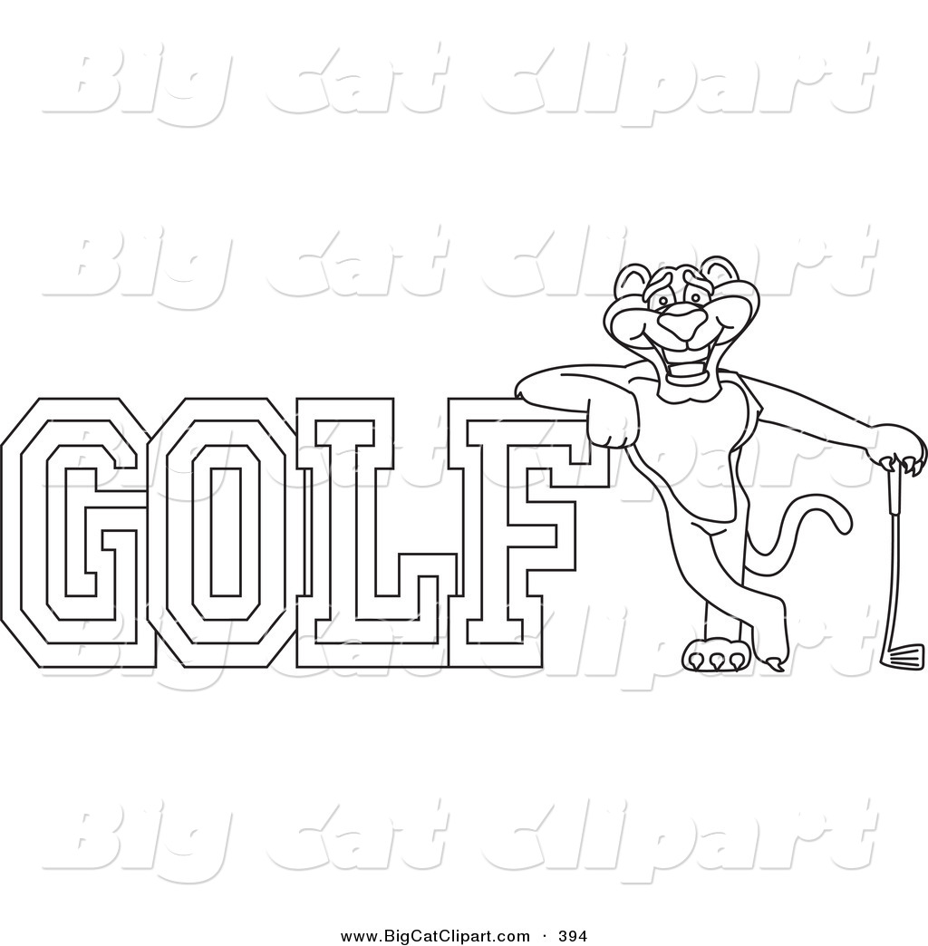 Big Cat Cartoon Vector Clipart Of A Outline Of A Panther