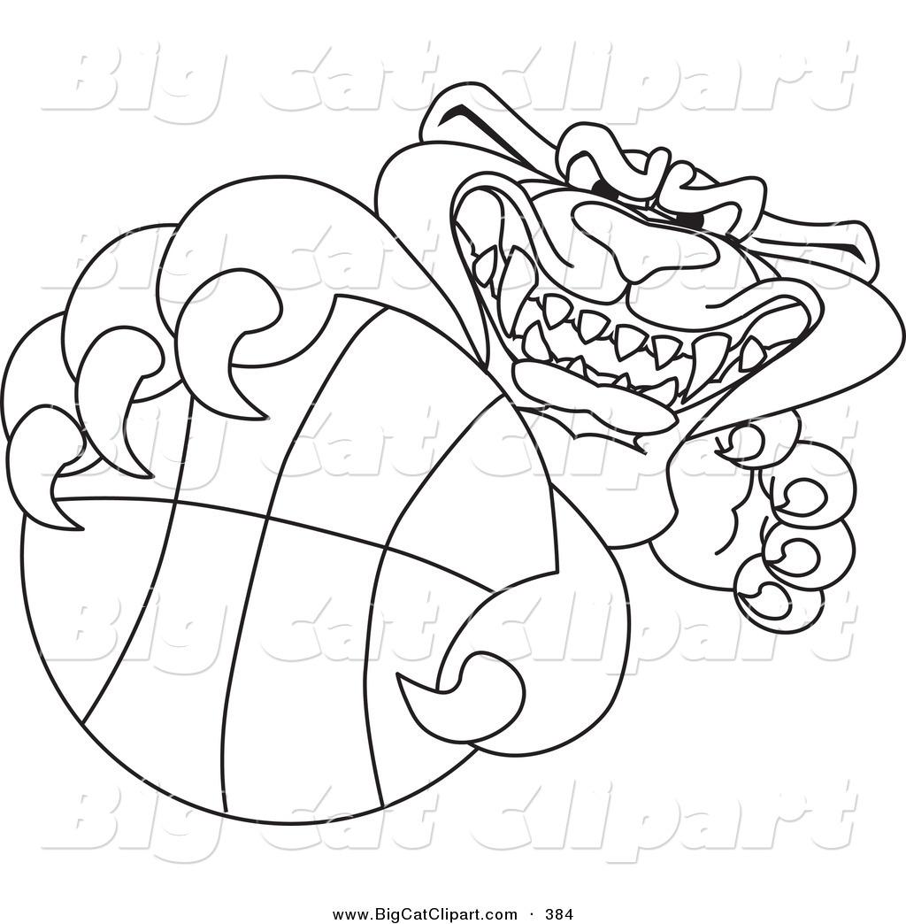 Big Cat Cartoon Vector Clipart Of An Outline Design Of A