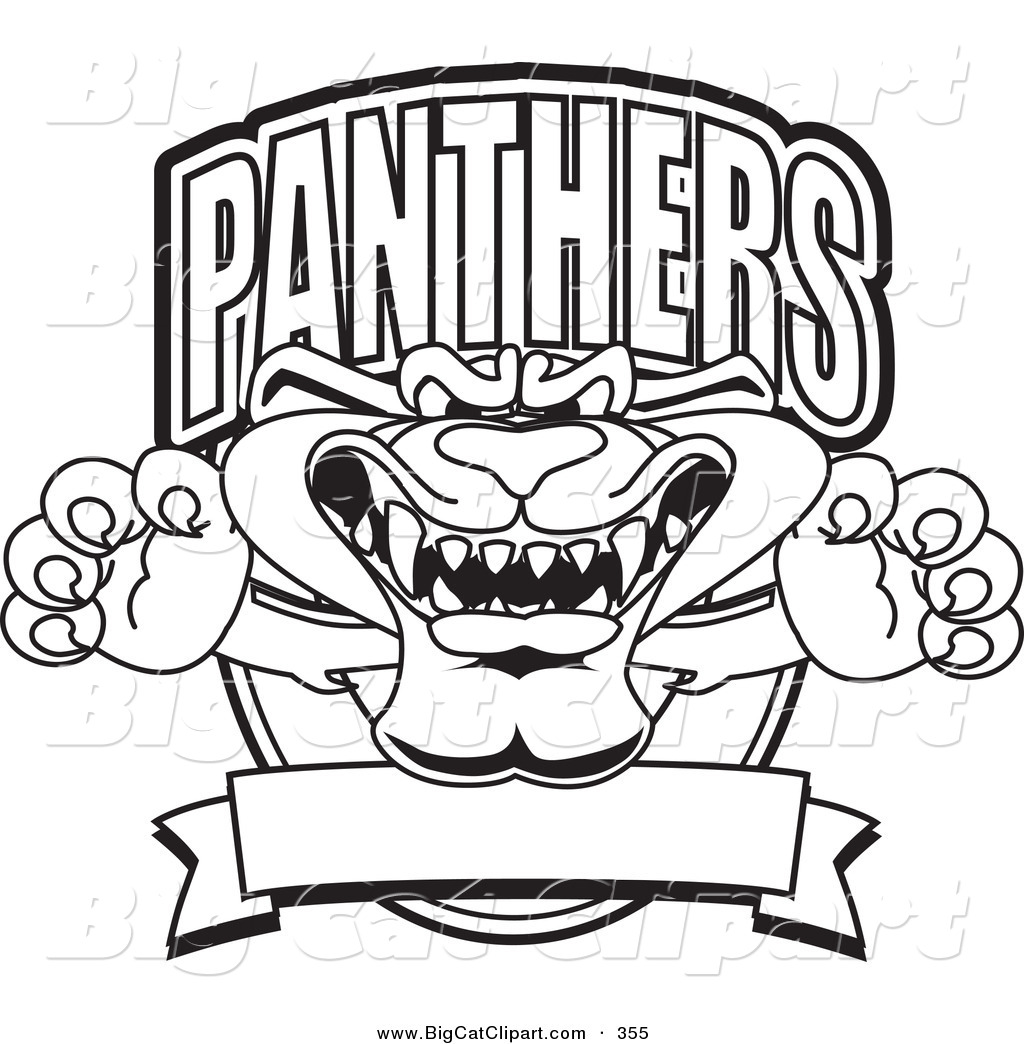 Big Cat Cartoon Vector Clipart Of An Outline Design Of A Panther Character Mascot Logo By