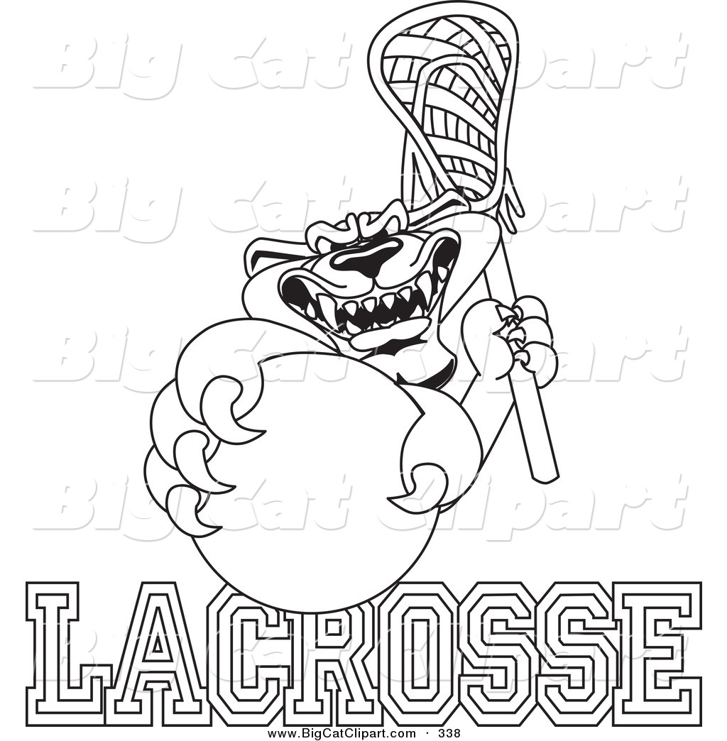 Big Cat Cartoon Vector Clipart Of An Outline Design Of A Panther Character Mascot With Lacrosse