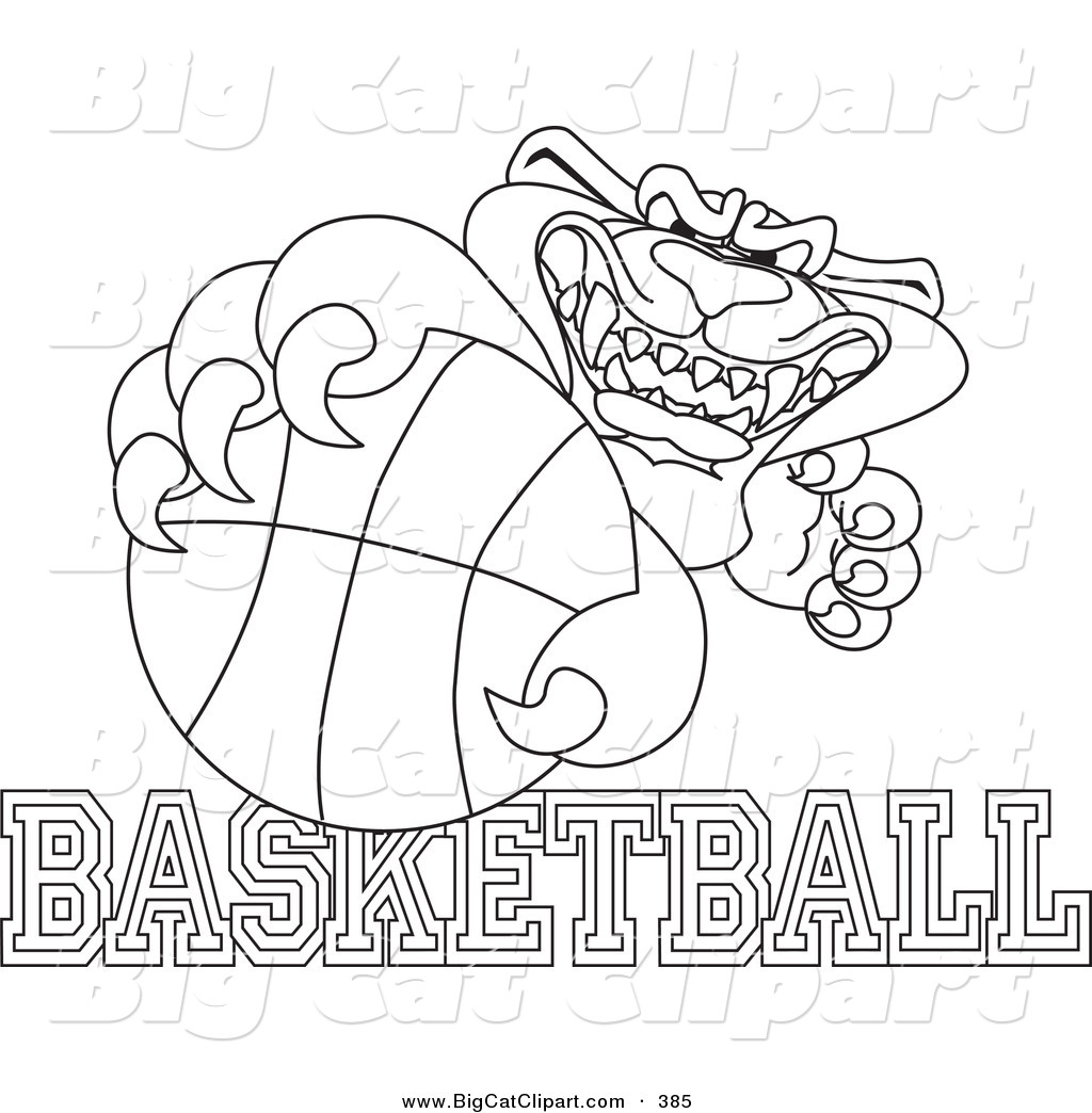 Big Cat Cartoon Vector Clipart Of Anoutline Design Of A