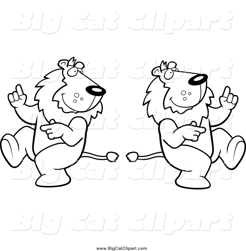Big Cat Cartoon Vector Clipart Of Black And White Dancing